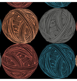 Sarah Watts Cotton Linen Canvas, Ruby Star Society, Purl, Wound Up in Black with Metallic, Fabric Half-Yards