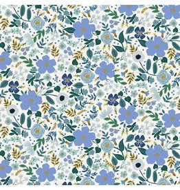Rifle Paper Co. Garden Party, Wild Rose in Blue with Metallic, Fabric Half-Yards