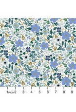 PD's Rifle Paper Co Collection Garden Party, Wild Rose in Blue with Metallic, Dinner Napkin