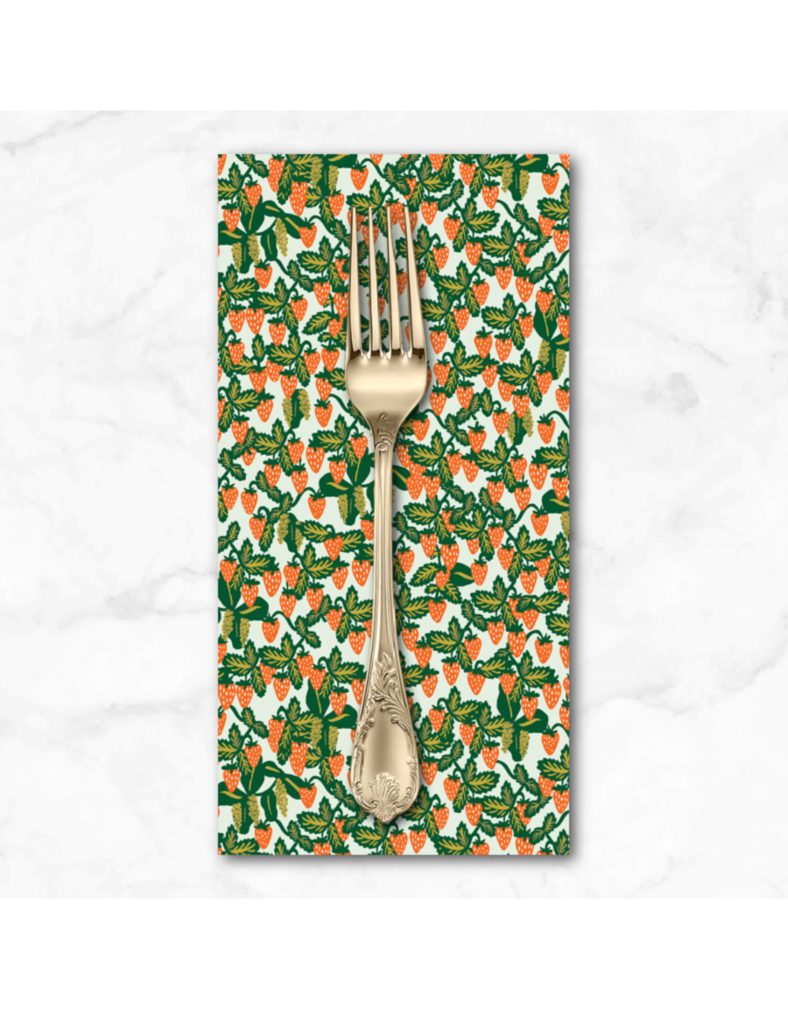 PD's Rifle Paper Co Collection Primavera, Strawberries in Mint, Dinner Napkin