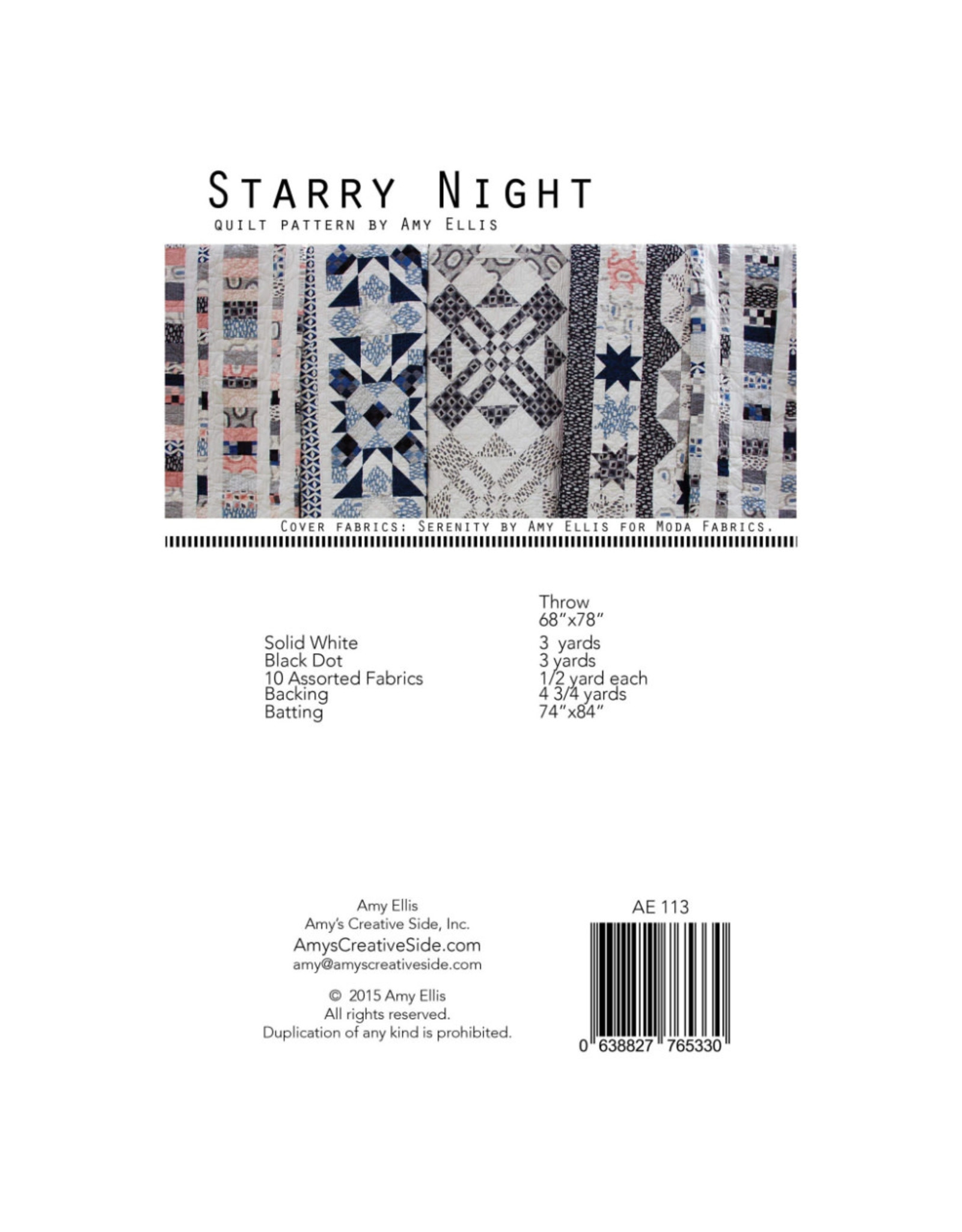 Amy's Creative Side Starry Night Quilt Pattern