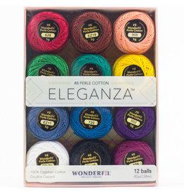 WonderFil Eleganza Kaleidoscope, Perle (Pearl) Cotton, Set of 12 Size 8 from WonderFil
