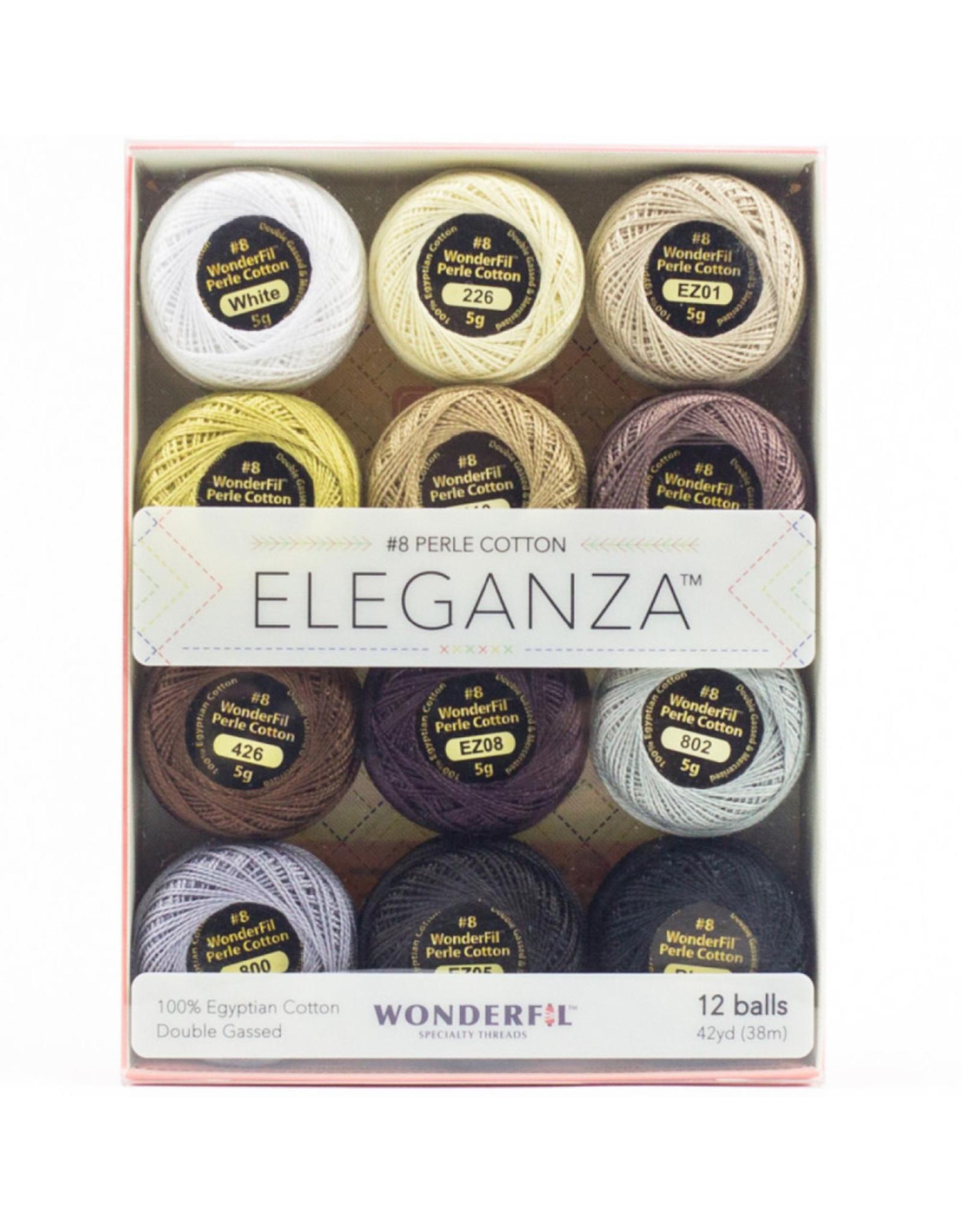 WonderFil Eleganza Neutrals, Perle (Pearl) Cotton, Set of 12 Size 8 from WonderFil