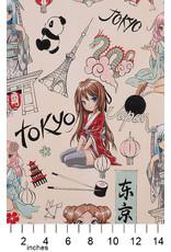 Alexander Henry Fabrics Nicole's Prints, Tokyo Dream in Butter, Fabric Half-Yards