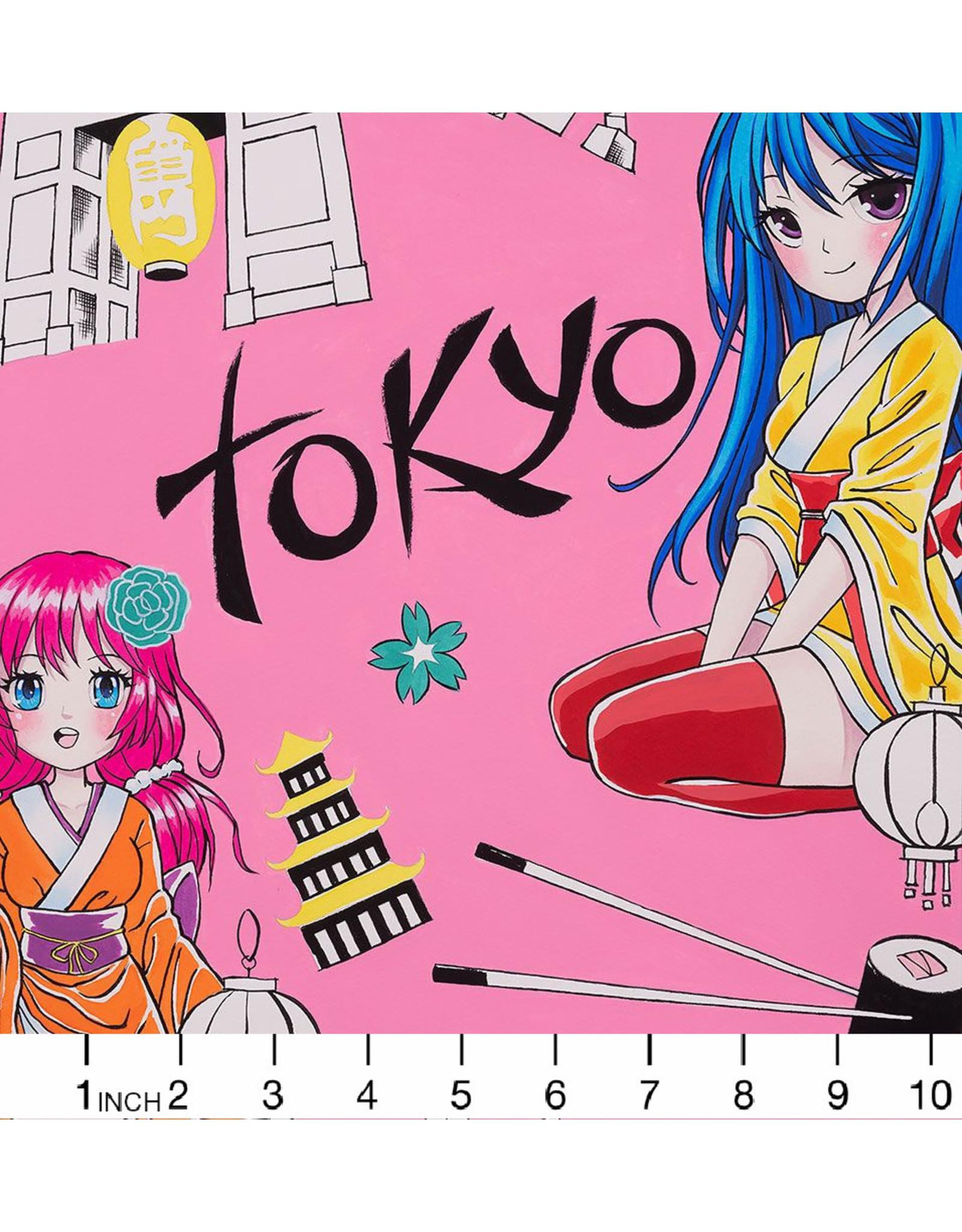 Alexander Henry Fabrics Nicole's Prints, Tokyo Dream in Hot Pink, Fabric Half-Yards