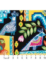 Alexander Henry Fabrics Folklorico, Ikat de Polanco in Black, Fabric Half-Yards