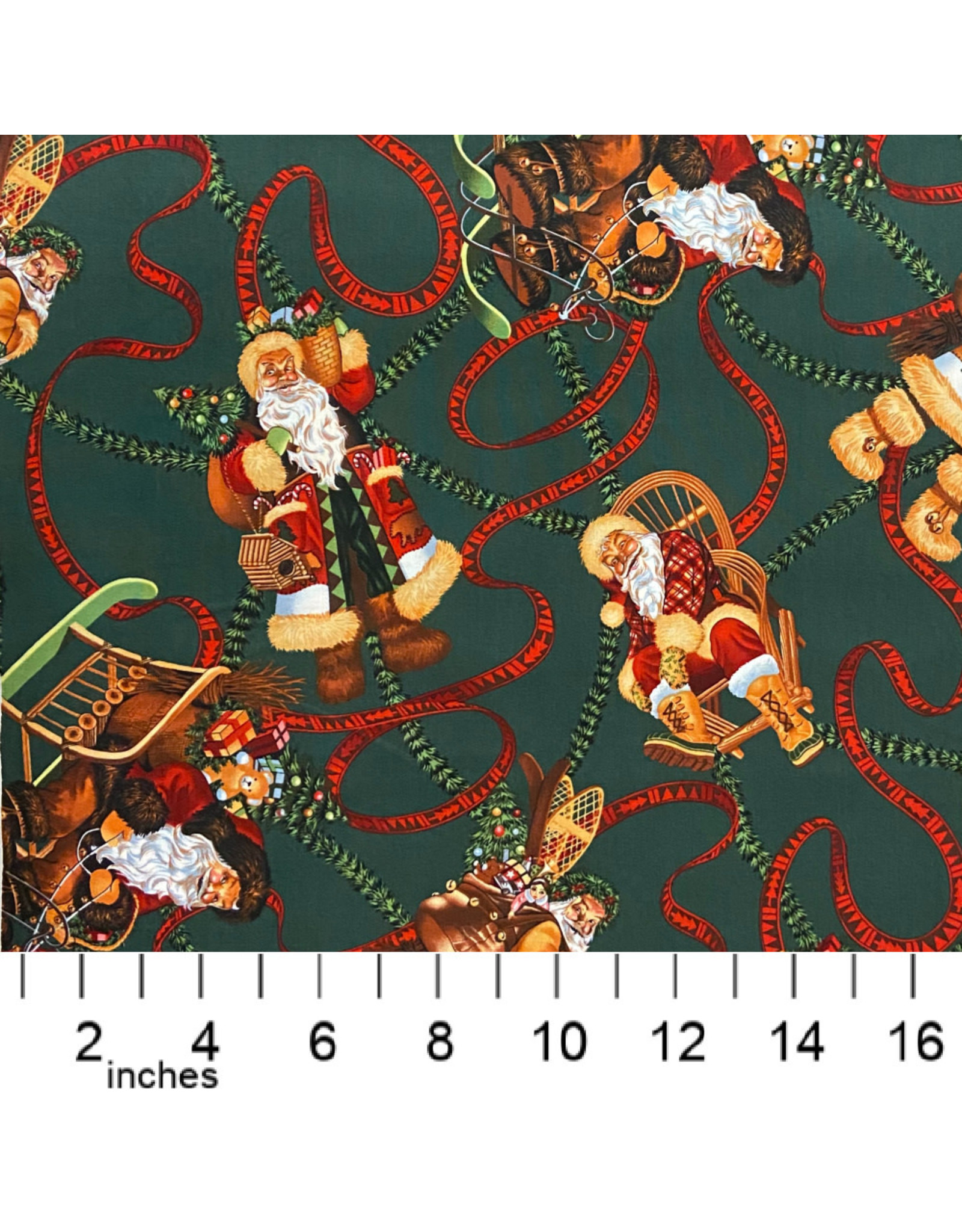 Alexander Henry Fabrics Christmas Time, Santa of Moose Lodge in Forest Green, Fabric Half-Yards