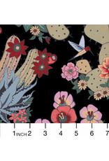 Alexander Henry Fabrics Folklorico, Hacienda Cactus in Black, Fabric Half-Yards