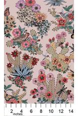 Alexander Henry Fabrics Folklorico, Hacienda Cactus in Tea Multi, Fabric Half-Yards