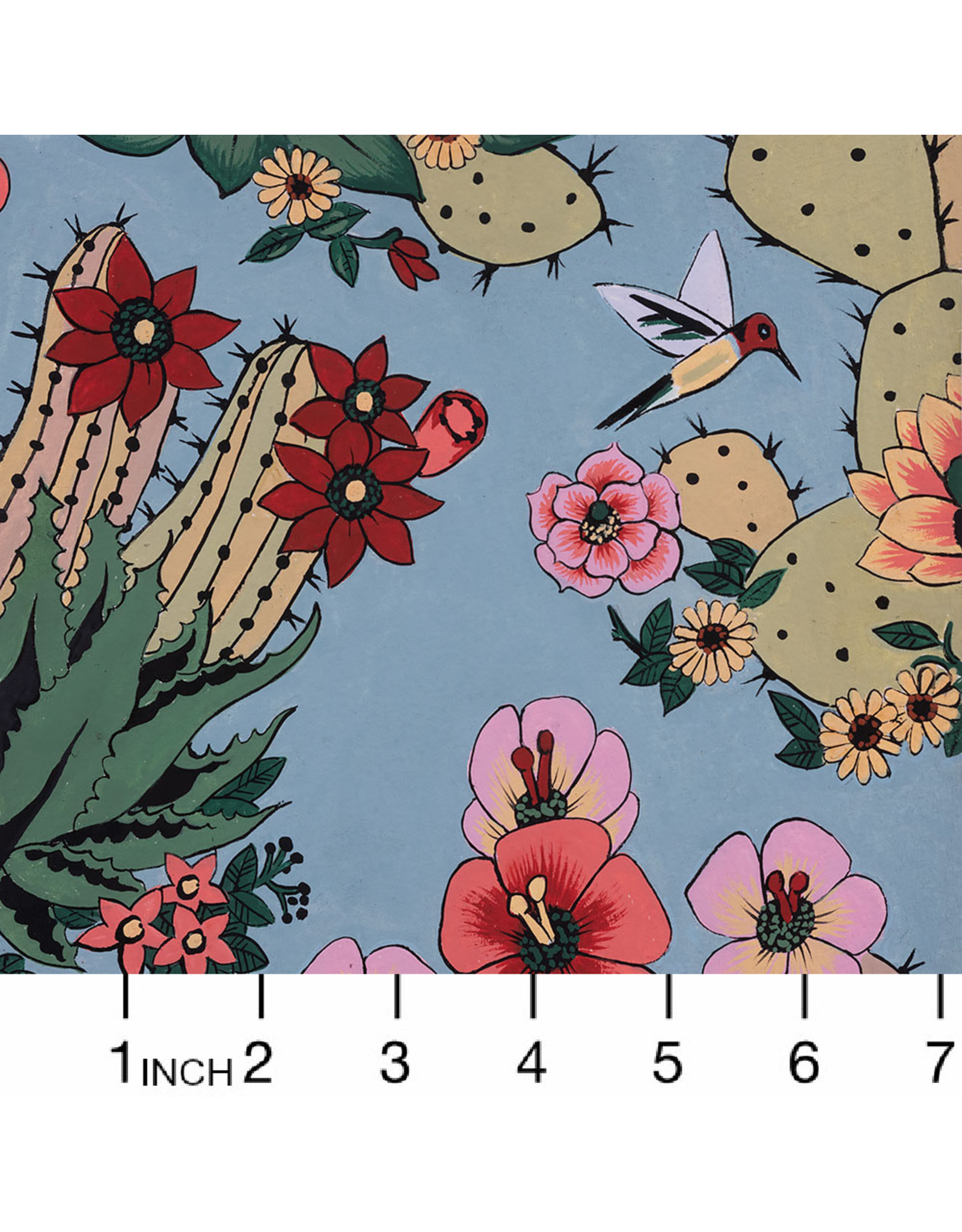 PD's Alexander Henry Collection Folklorico, Hacienda Cactus in Chambray, Dinner Napkin