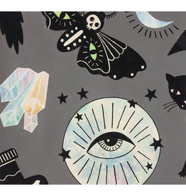 Alexander Henry Fabrics Haunted House, Eye of the Moon in Smoke, Fabric Half-Yards
