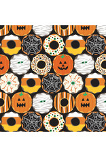 Maude Asbury Boolicious, Creepy Crullers in Black, Fabric Half-Yards