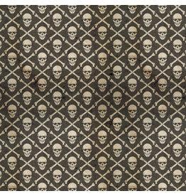 Tim Holtz Regions Beyond, Crossbones in Black, Fabric Half-Yards