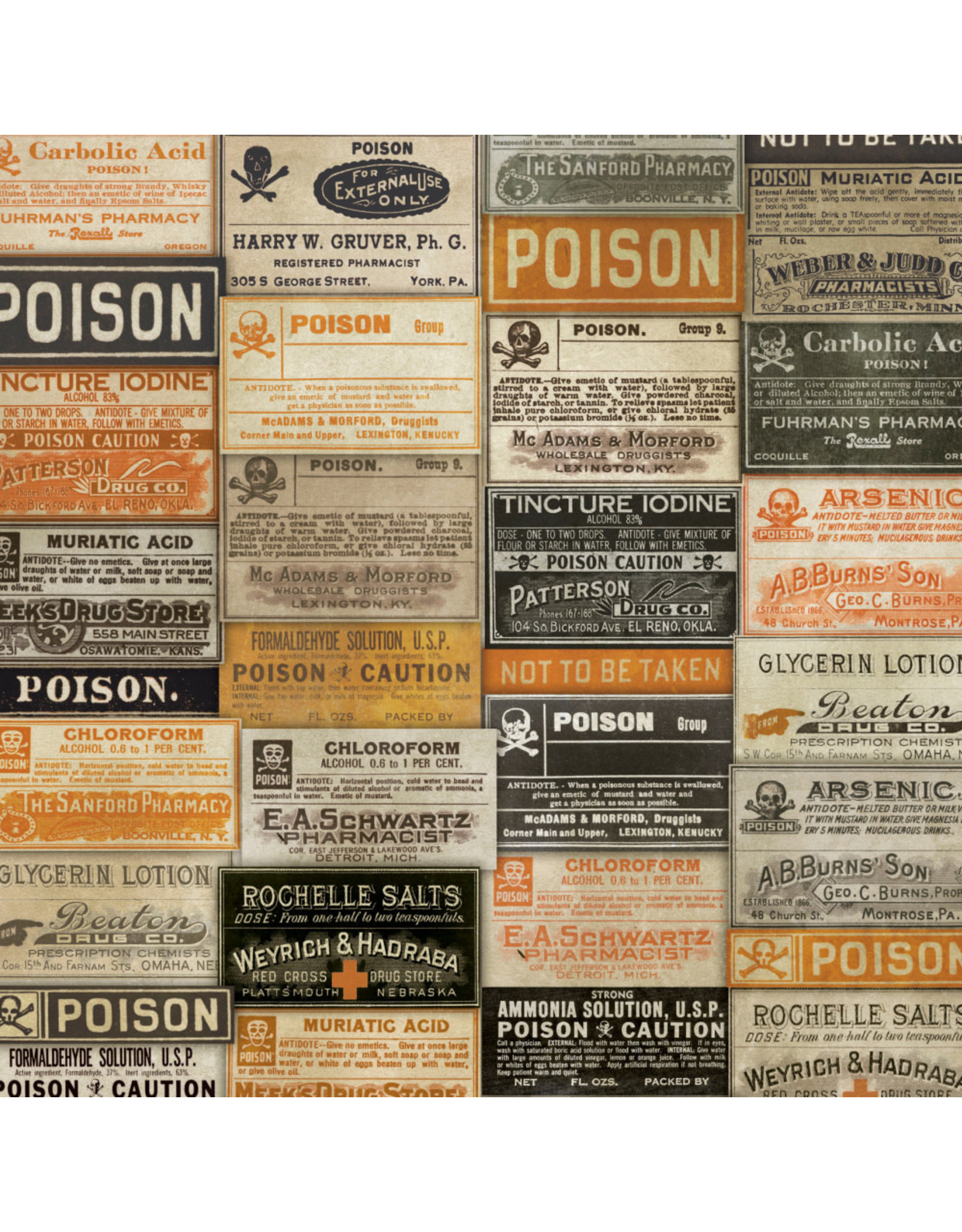Tim Holtz Regions Beyond, Apothecary in Multi, Fabric Half-Yards