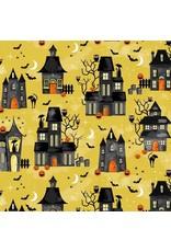 Michael Miller Hocus Pocus, Midnight Manor in Gold, Fabric Half-Yards