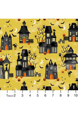 PD's Michael Miller Collection Hocus Pocus, Midnight Manor in Gold, Dinner Napkin