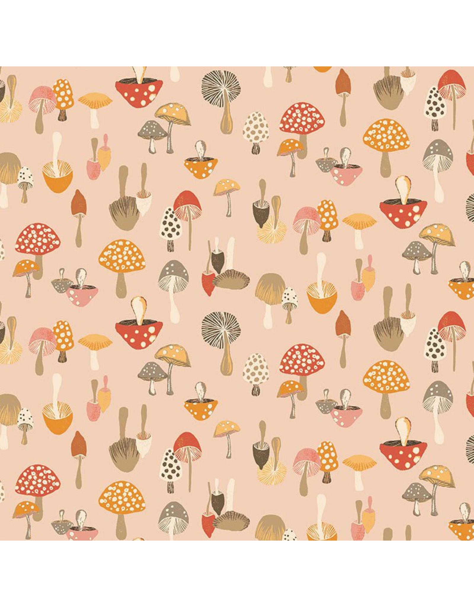 Dear Stella Frond of You, Don't Give a Shitake in Creampuff, Fabric Half-Yards