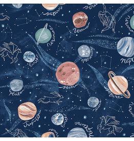 Rae Ritchie Starstuff, Planets in Multi, Fabric Half-Yards