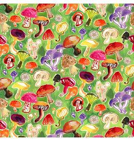August Wren Chef's Table, Mushroom Field in Multi, Fabric Half-Yards