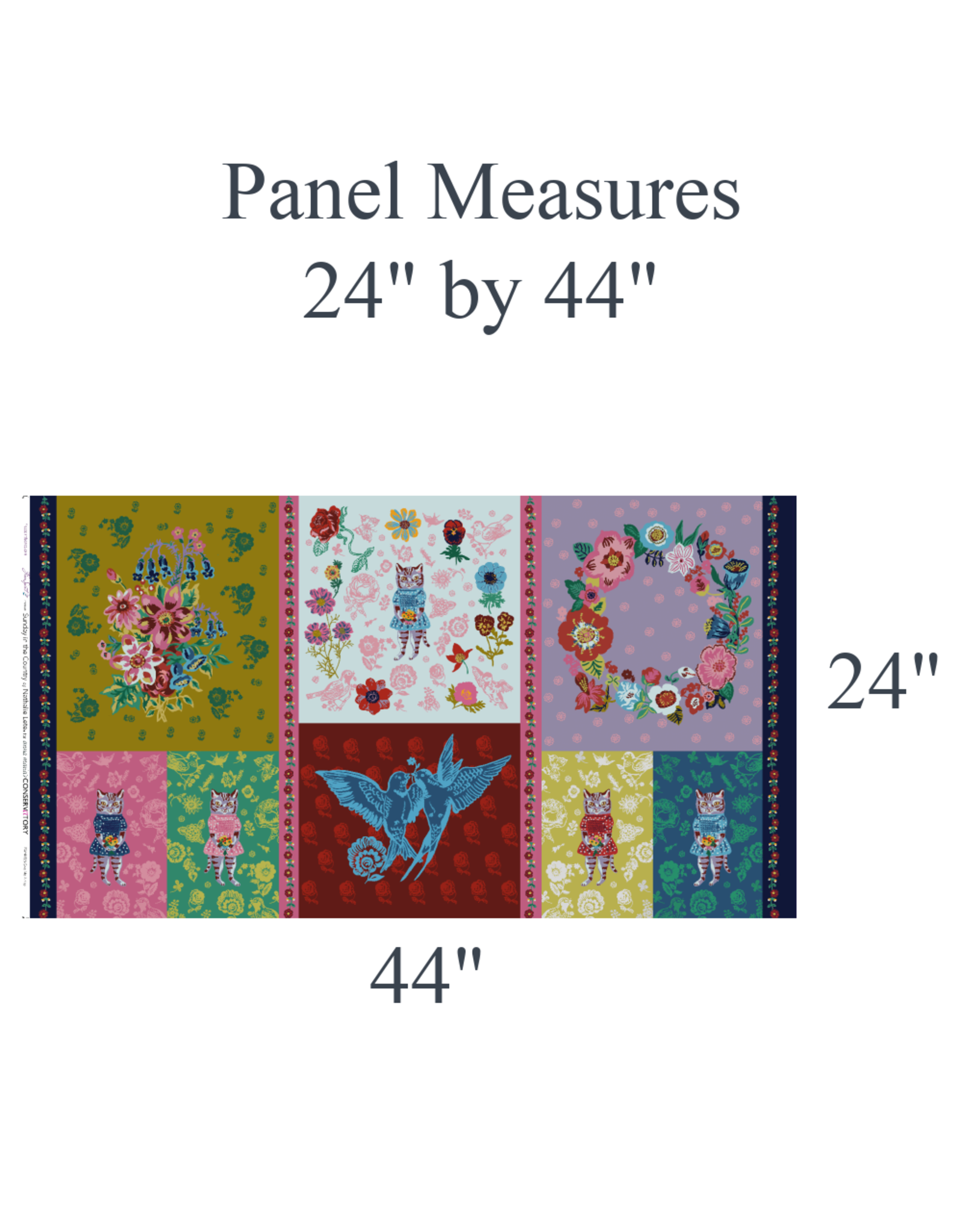"""Nathalie Lété Sunday in the Country, Give Me A Kiss Panel, 24"""" x 44"""" Fabric Panel"""