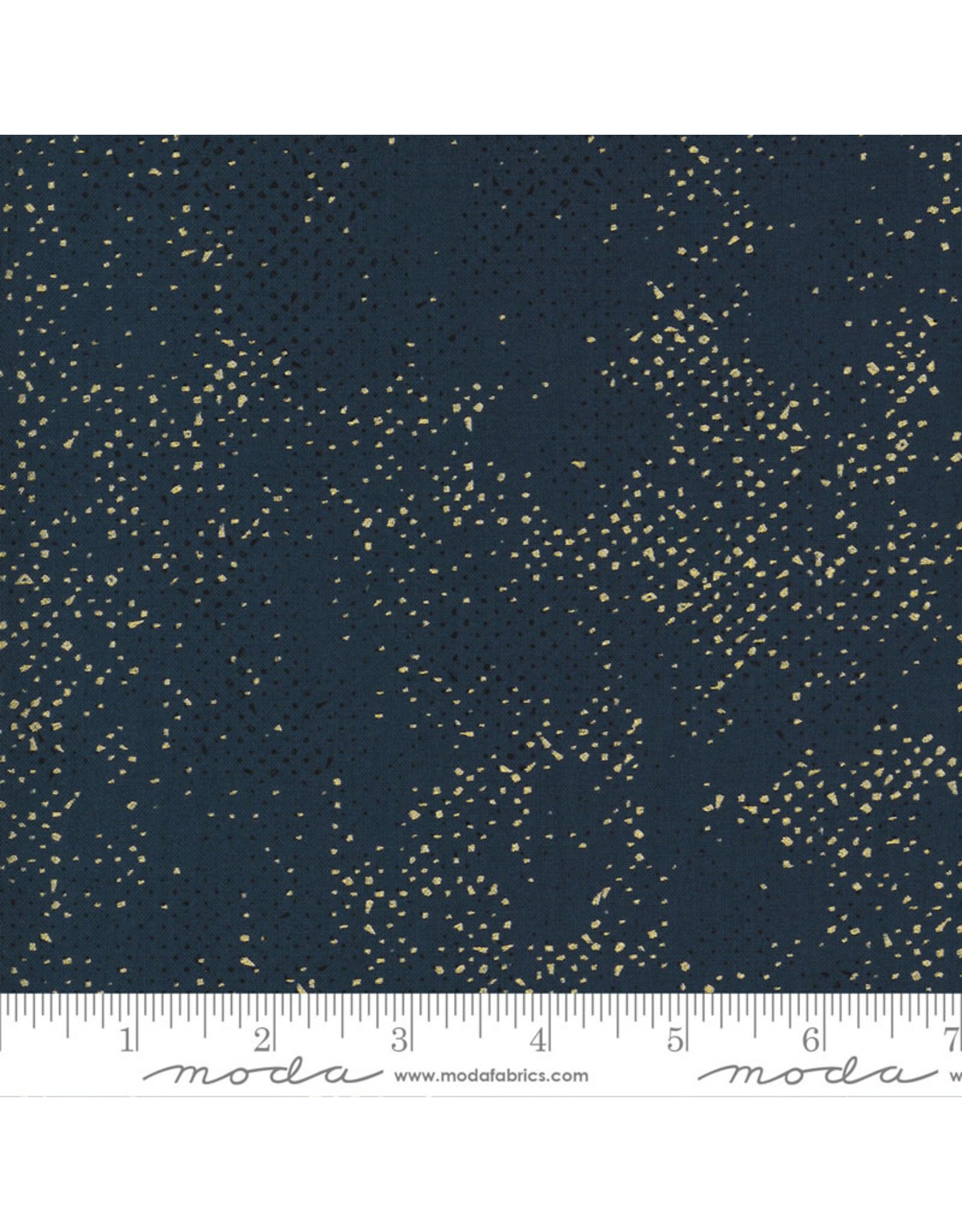 Zen Chic Dance in Paris, Spotted Dots in Navy with Metallic, Fabric Half-Yards