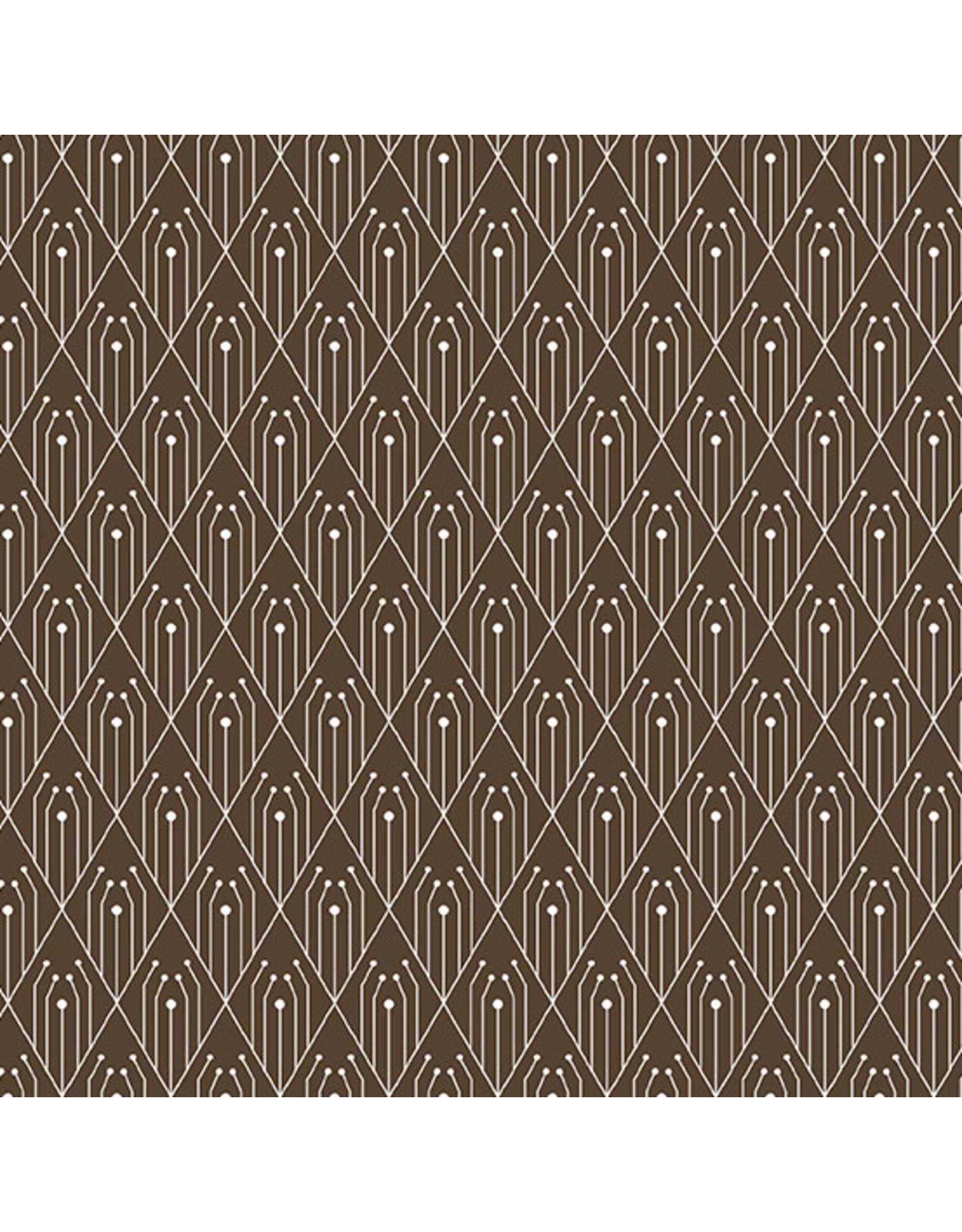 Giucy Giuce Century Prints, Deco Diamonds in Chocolate, Fabric Half-Yards