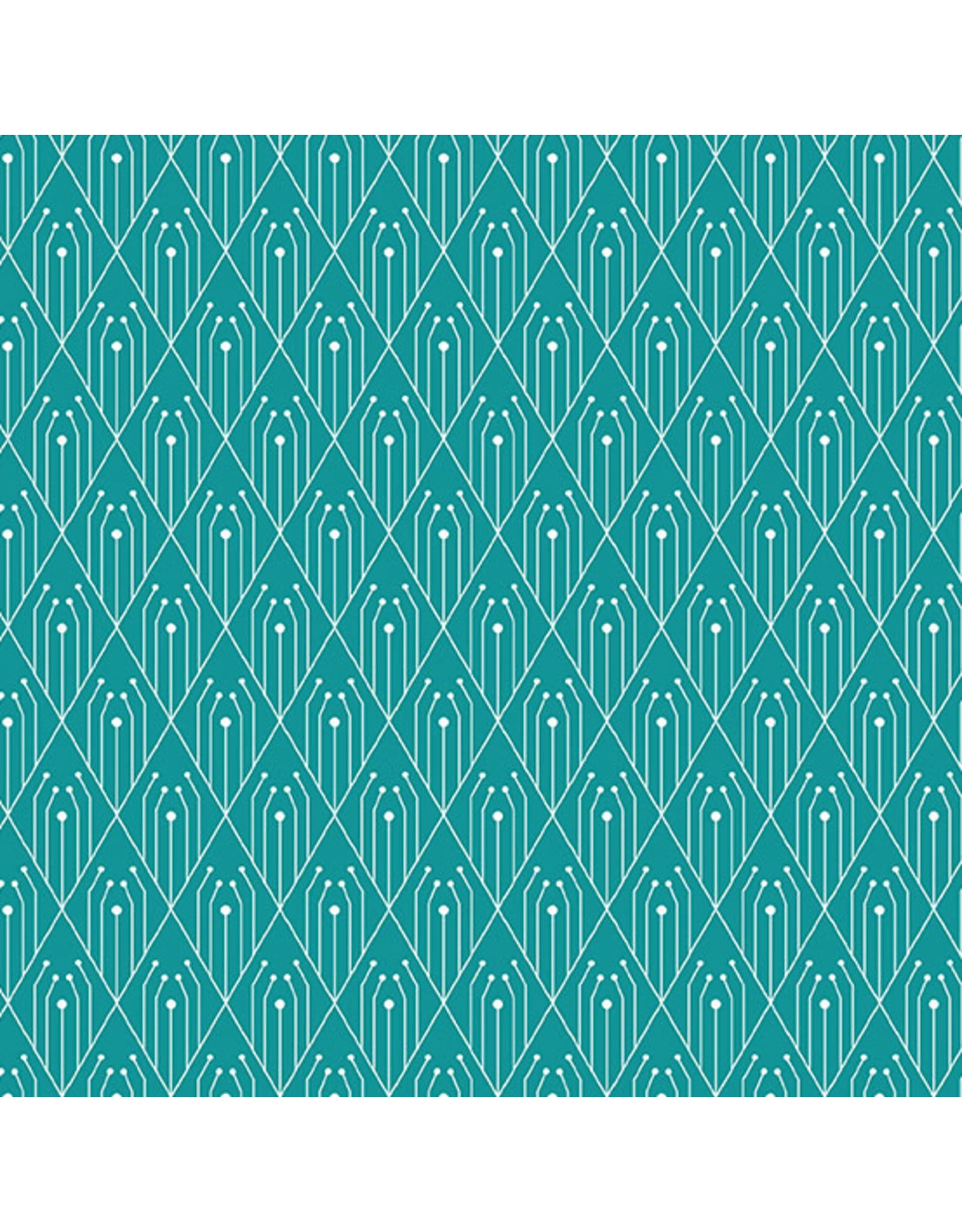 Giucy Giuce Century Prints, Deco Diamonds in Teal, Fabric Half-Yards