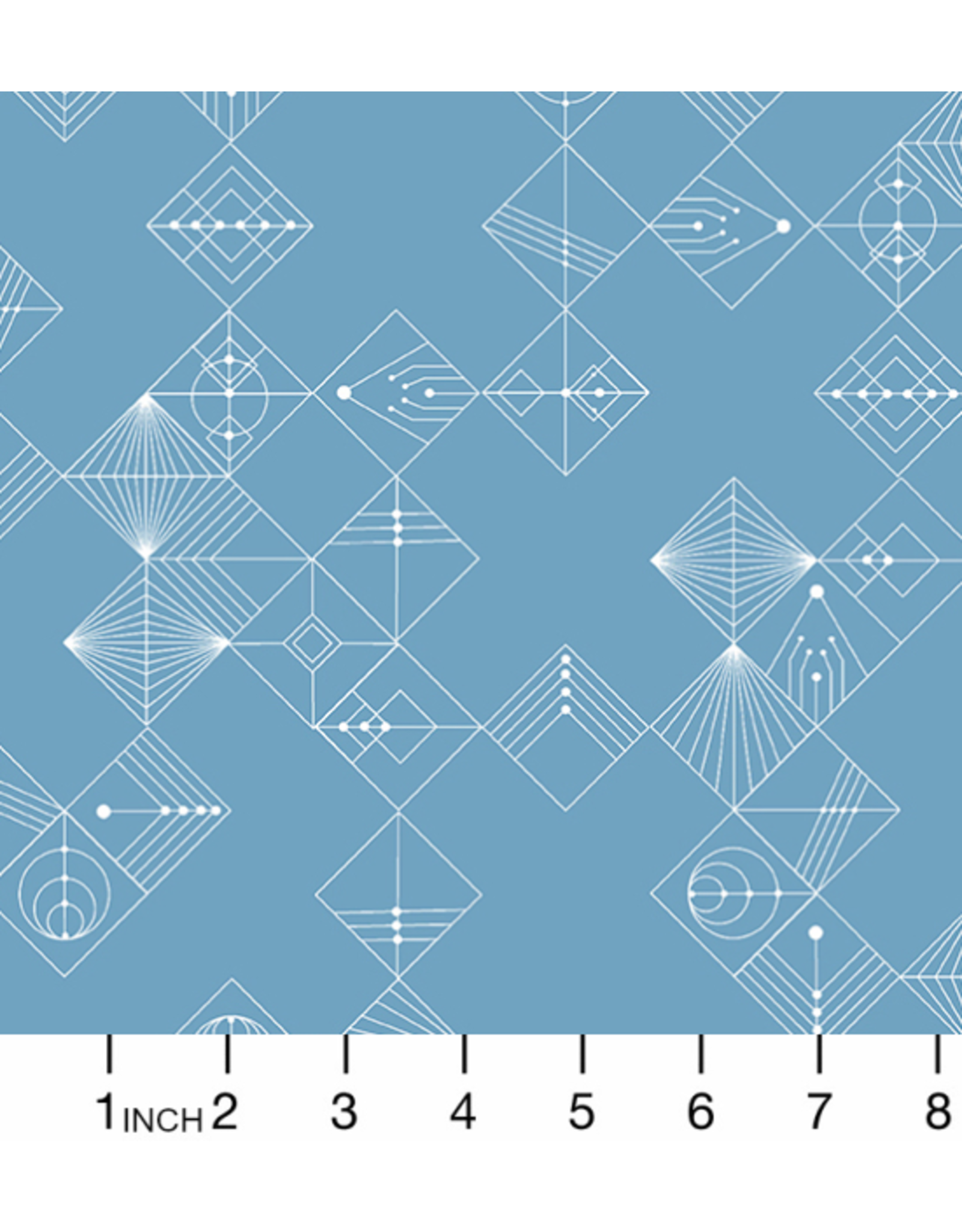 Giucy Giuce Century Prints, Deco Tiles in Chambray Blue, Fabric Half-Yards