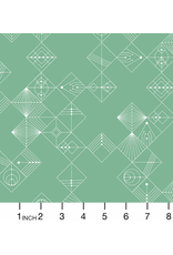 Giucy Giuce Century Prints, Deco Tiles in Jade, Fabric Half-Yards