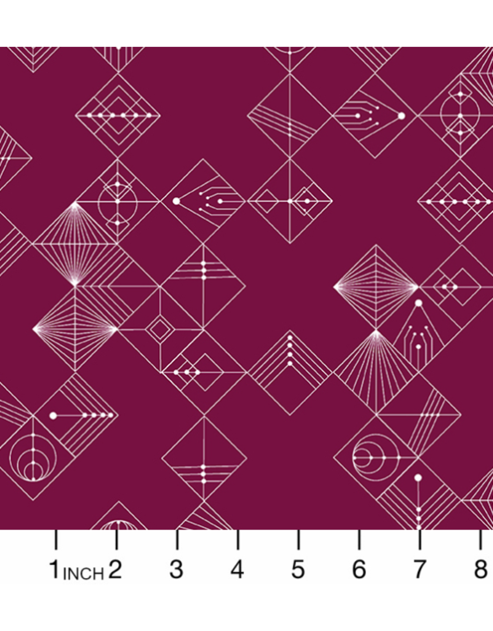 Giucy Giuce Century Prints, Deco Tiles in Mulberry, Fabric Half-Yards