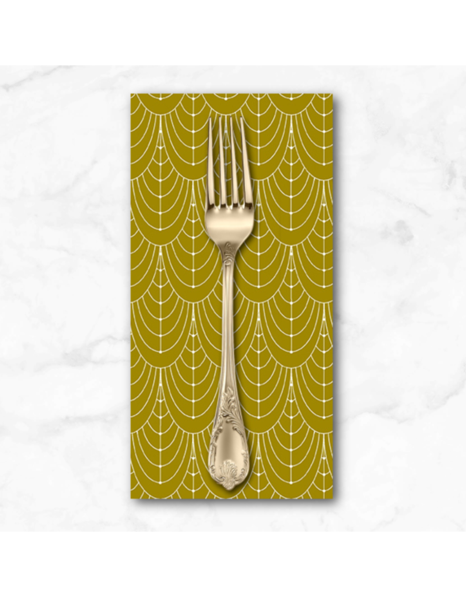 PD's Giucy Giuce Collection Century Prints, Deco Curtains in Brass, Dinner Napkin