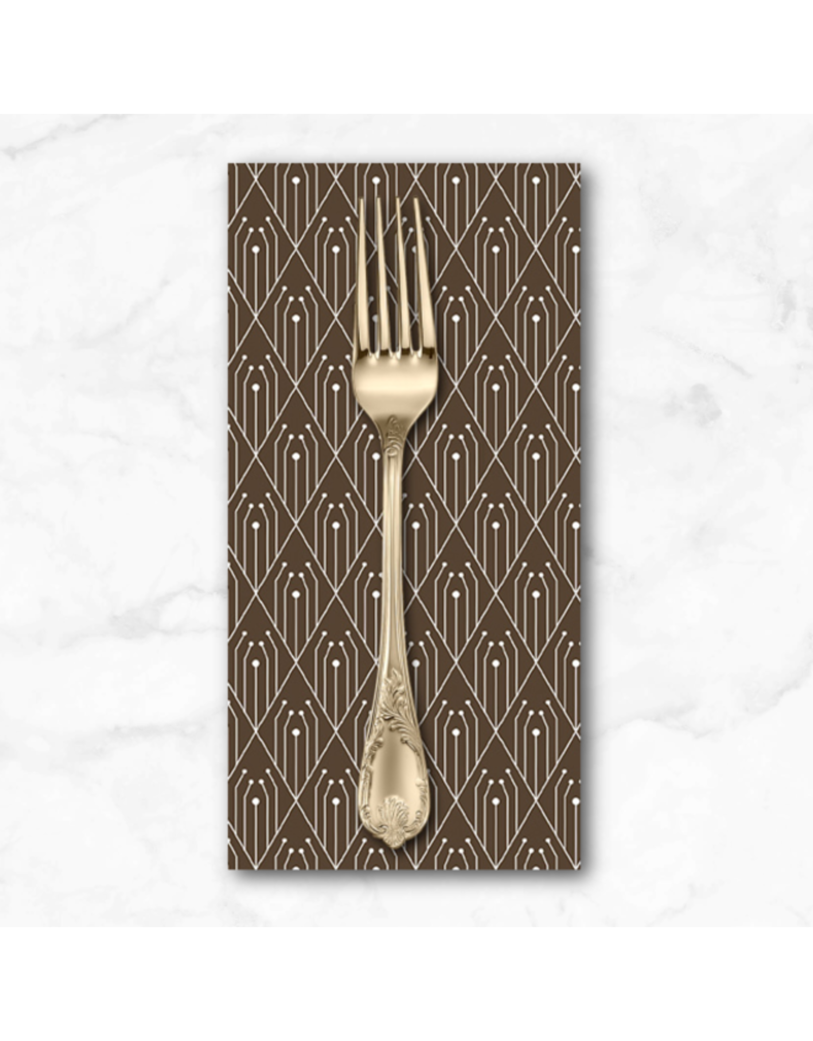 PD's Giucy Giuce Collection Century Prints, Deco Diamonds in Chocolate, Dinner Napkin