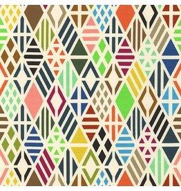Robert Kaufman Laguna Lightweight Jersey Knit, Diamonds in Multi, Fabric Half-Yards