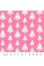 Figo Peppermint, Trees in Pink, Fabric Half-Yards
