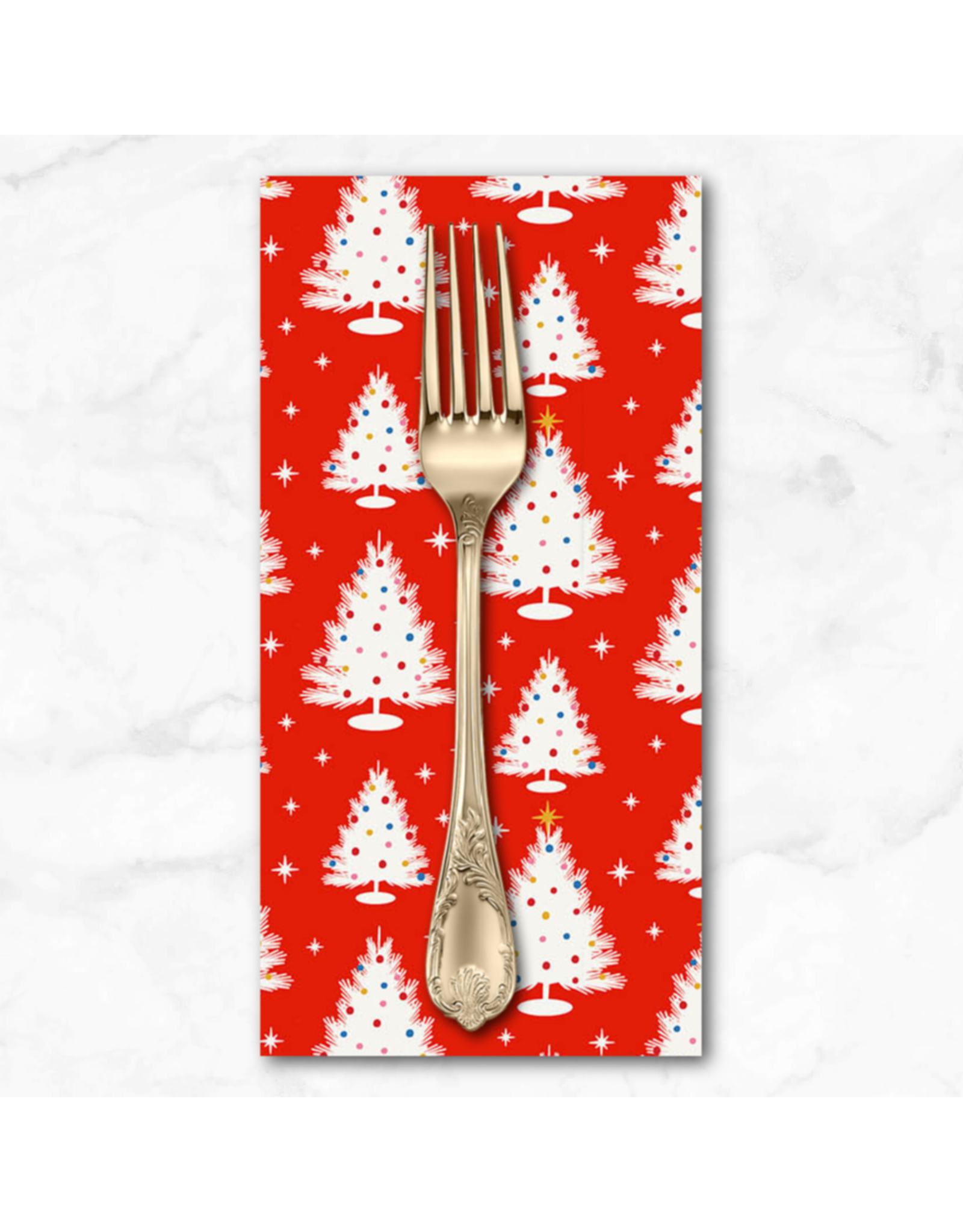 Christmas Collection Peppermint, Trees in Red, Dinner Napkin