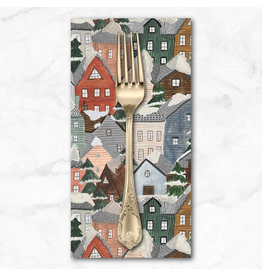 Christmas Collection Winter Frost, Houses in Grey Multi, Dinner Napkin