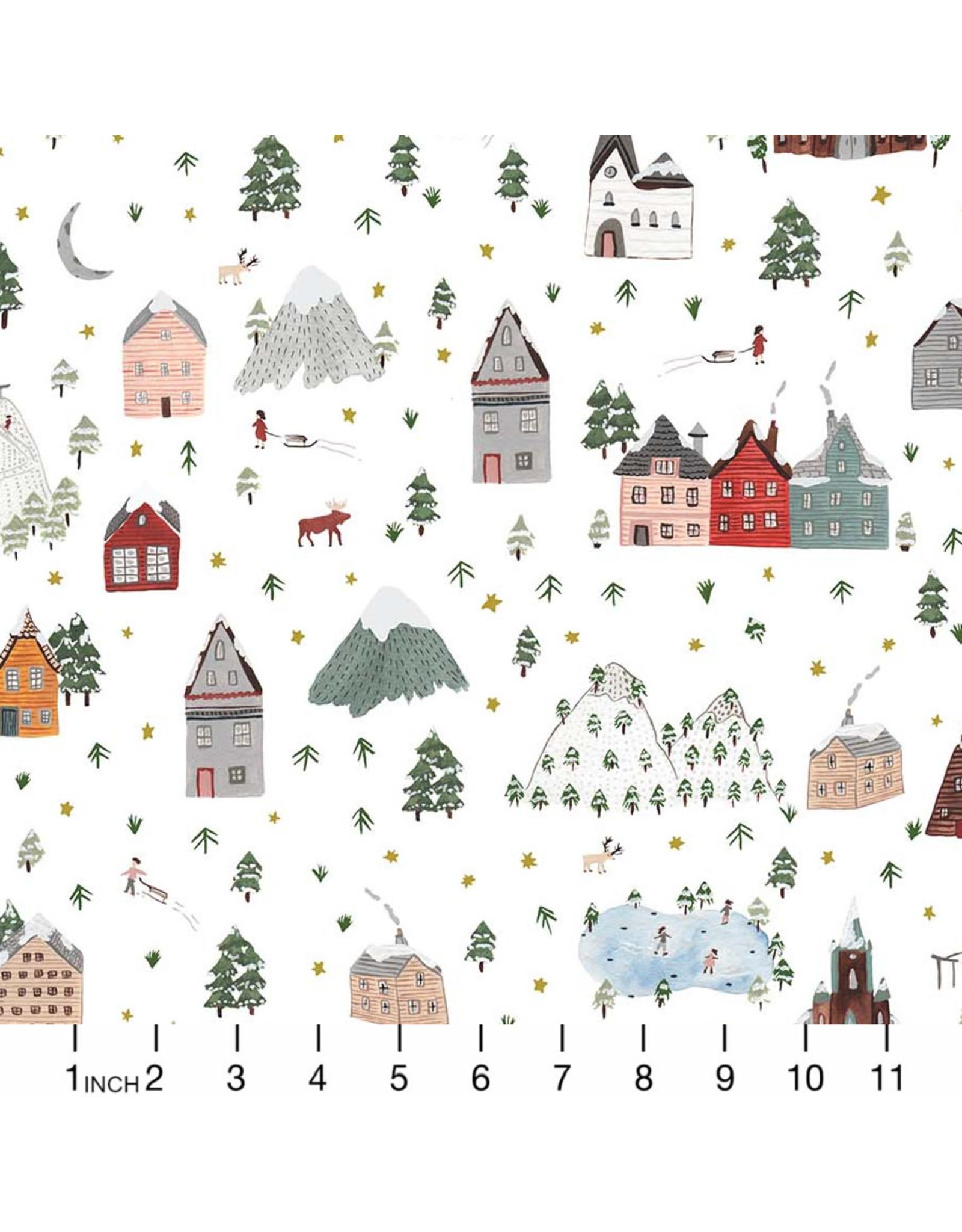 Christmas Collection Winter Frost, Winter Landscape in White Multi, Dinner Napkin