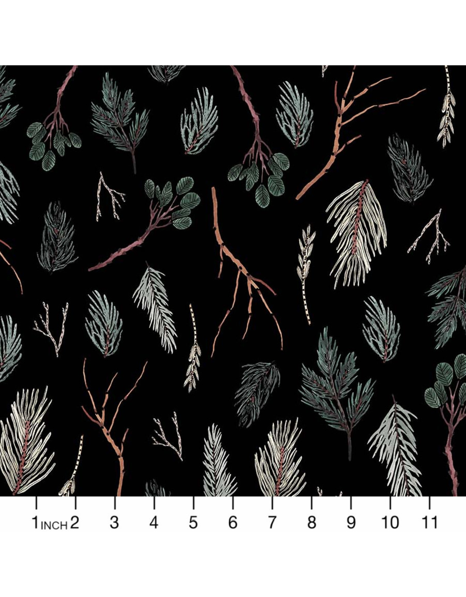 Christmas Collection Winter Frost, Twigs in Black, Dinner Napkin