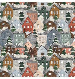 Figo Winter Frost, Houses in Grey Multi, Fabric Half-Yards