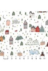 Figo Winter Frost, Winter Landscape in White Multi, Fabric Half-Yards