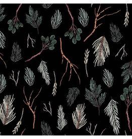 Figo Winter Frost, Twigs in Black, Fabric Half-Yards