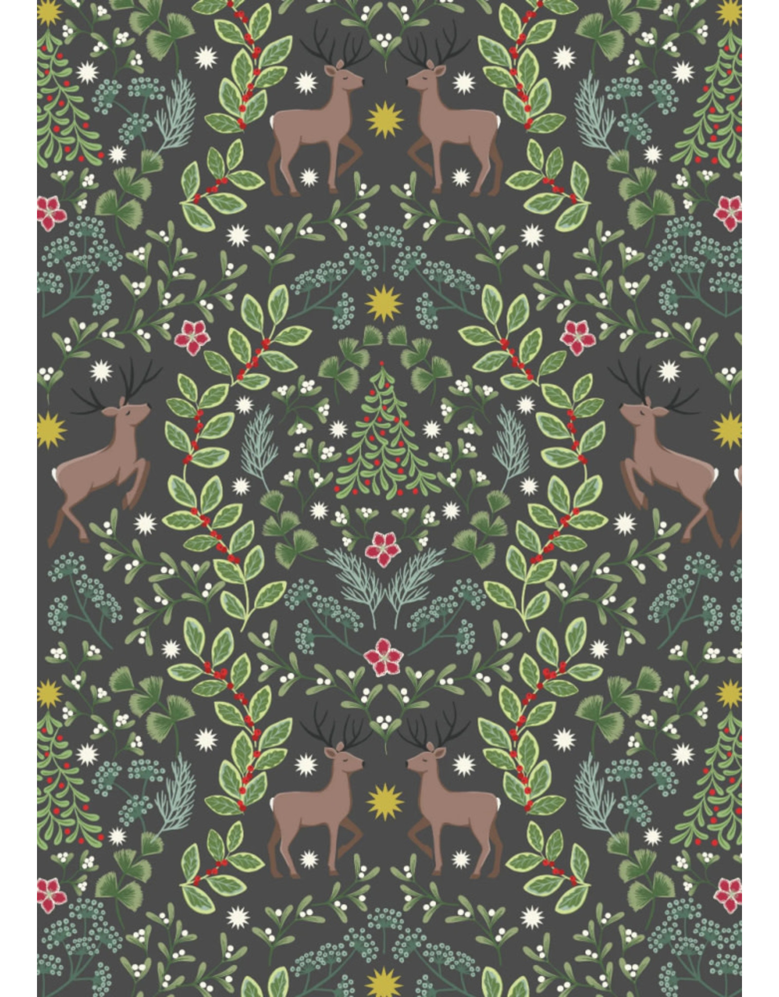 Lewis & Irene Nöel, Reindeer on Warm Dark Grey, Fabric Half-Yards