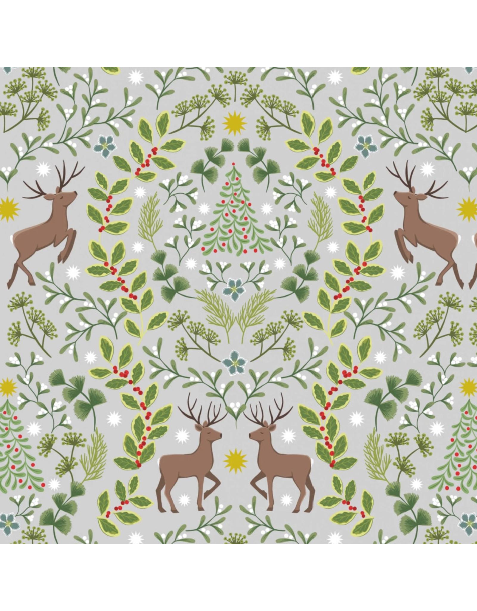 Lewis & Irene Nöel, Reindeer on Silver Fabric Half-Yards
