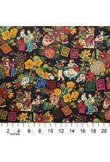 Alexander Henry Fabrics Folklorico, La Mascarada in Black, Fabric Half-Yards