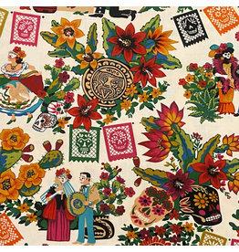 Alexander Henry Fabrics Folklorico, La Mascarada in Natural, Fabric Half-Yards