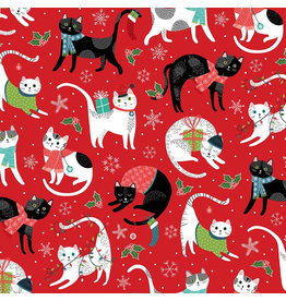 Northcott Santa Paws, Cat Features in Red, Fabric Half-Yards