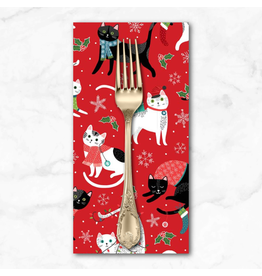 Christmas Collection Santa Paws, Cat Features in Red, Dinner Napkin