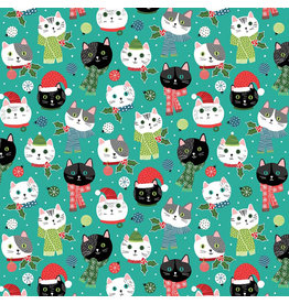 Northcott Santa Paws, Cat Heads in Turquoise, Fabric Half-Yards