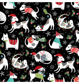 Northcott Santa Paws, Dog Features in Black, Fabric Half-Yards