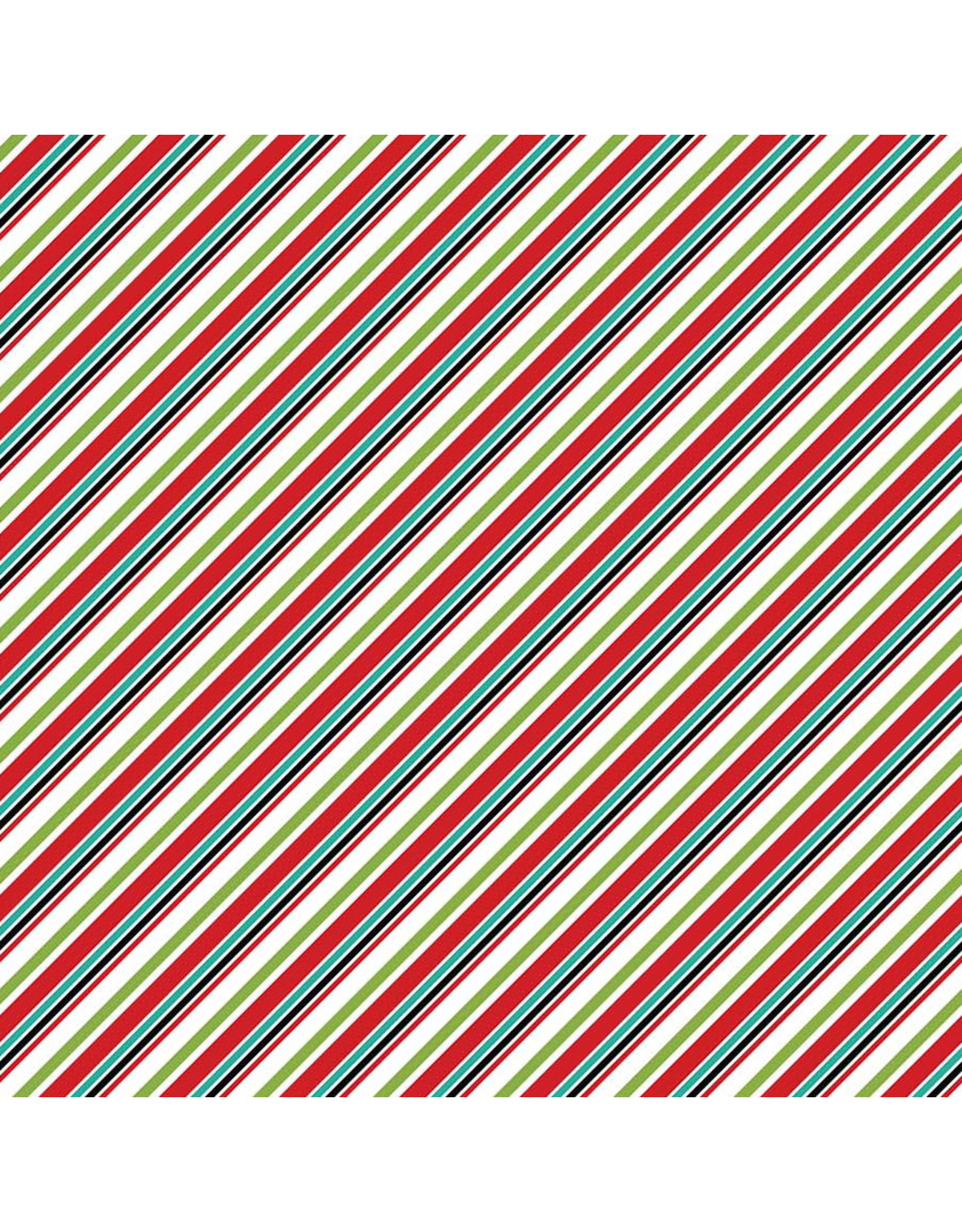 Northcott Santa Paws, Diagonal Stripe in White Multi, Fabric Half-Yards